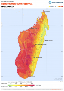 The solar potential is extremly high almost all over Madagascar. Perfect conditions to expand solar energy for a sustainable energy supply for the island! © 2019 The World Bank